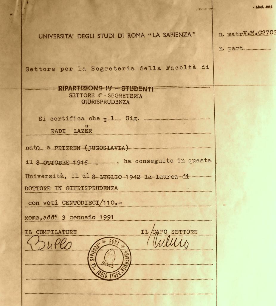 Dokument i Laurës së Lazër Radit - Doktor Juris