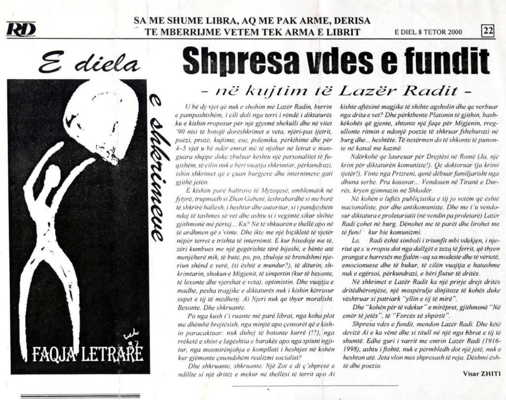 Shkrim i Visar Zhitit tetor 2000