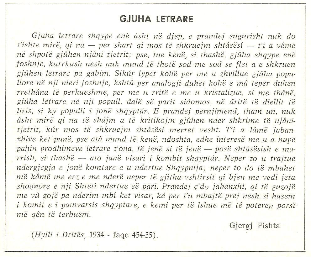 Gjuha shqipe: Gjergj Fishta