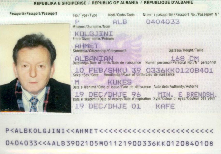 Ahmet Kolgjini - Pasaporte '96