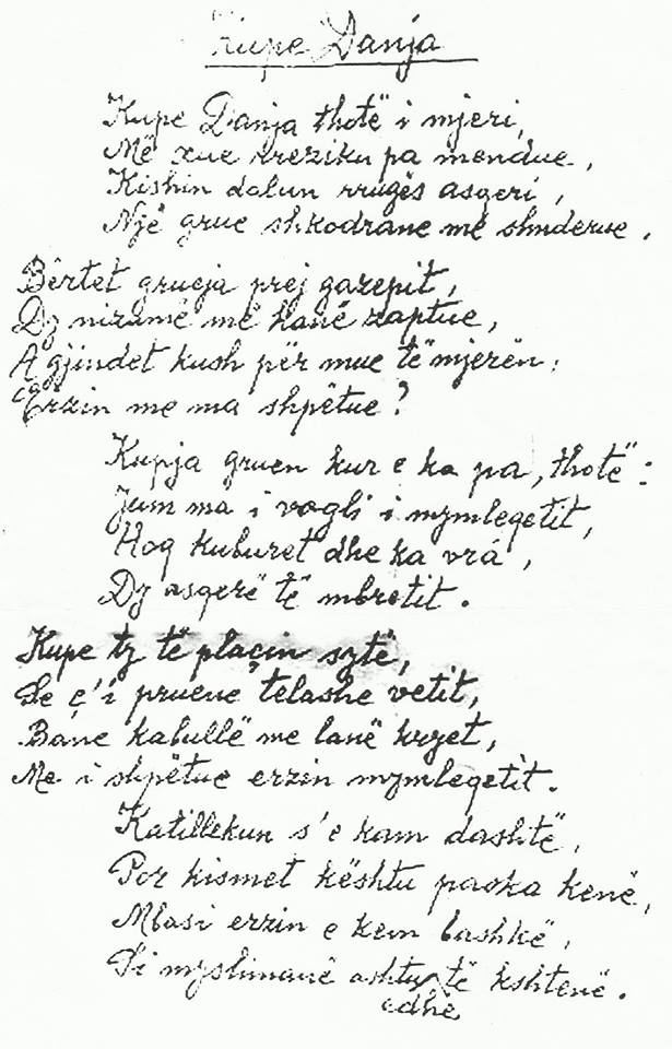 """Dorshkrimi i poemës """"Kupe Danja"""""""