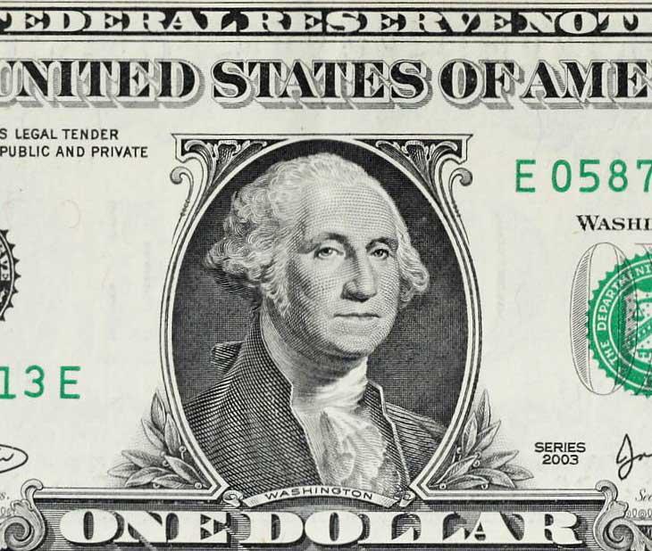 Nji dollar me fytyrën e Washingtonit