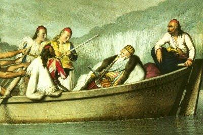 Ali Pasha dhe eskorta në Liqenin e Janinës