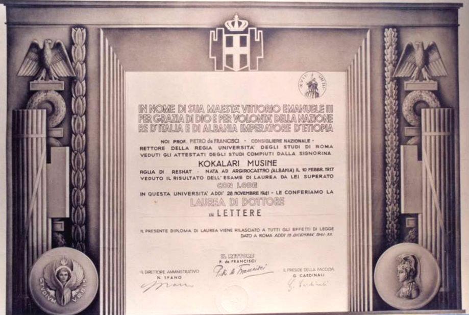 Musine Kokalari - Laurea e Sapienza-s