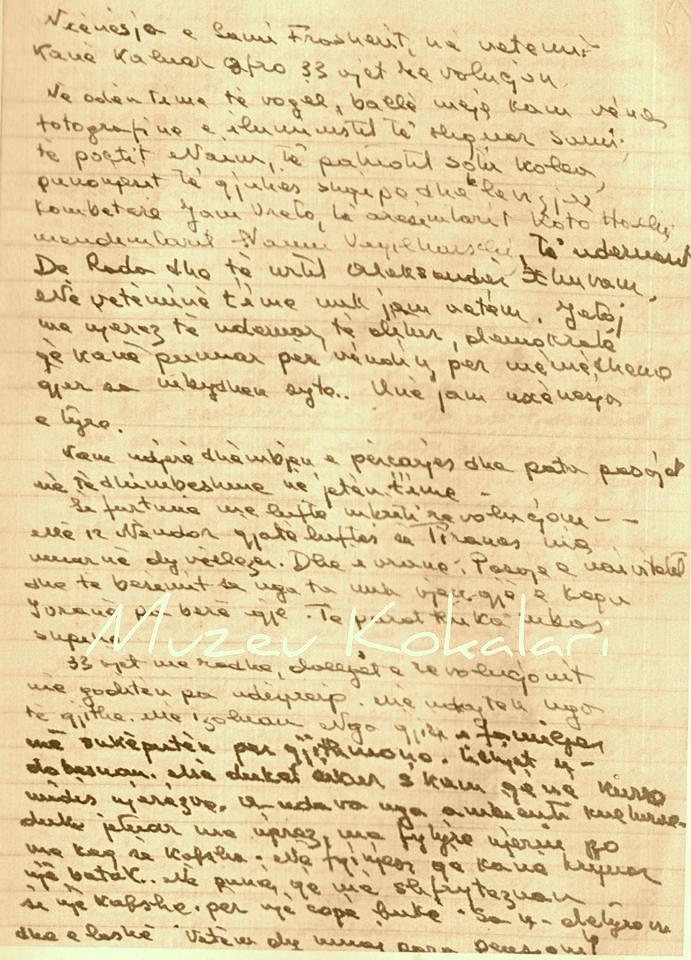 Kujtimet e Musinesë - Dorëshkrime