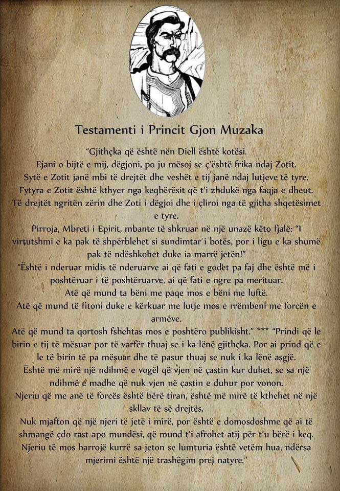 Gjon Muzaka - Testament
