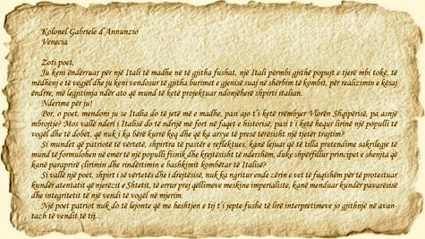 Sotir Kolea i shkruan D'Anunzios