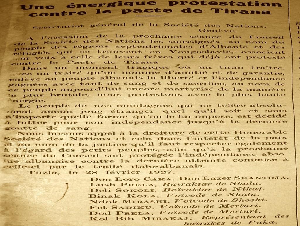 Faksimile e Gazetës Liria Kombëtare e botuar në Gjenevë 1927