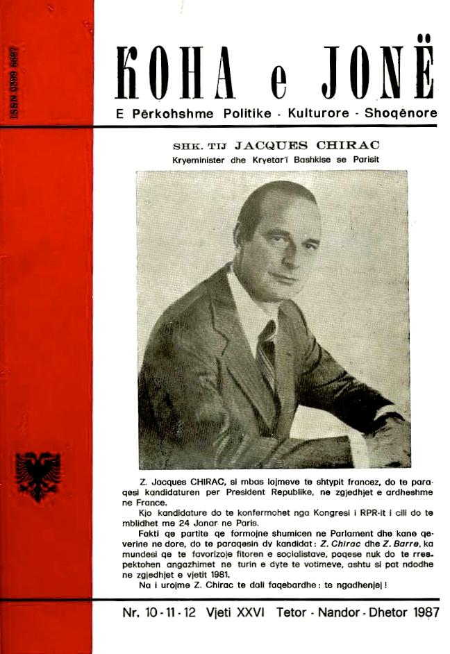 """Jacques Chirac - në Kopertinën e """"Koha Jonë"""""""
