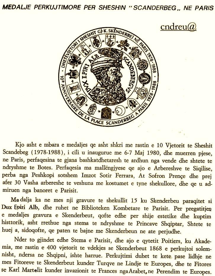 Historia e Medaljes Perkujtimore te Sheshit Scanderbeg