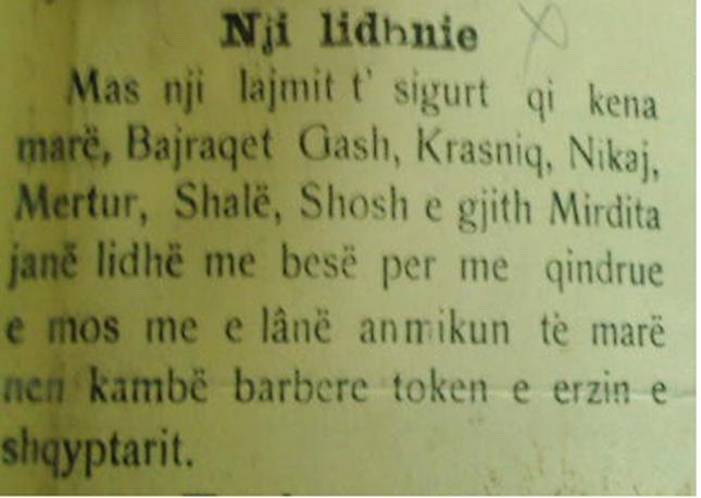 Faksimile e Gazetës Populli, Shkodër 1915