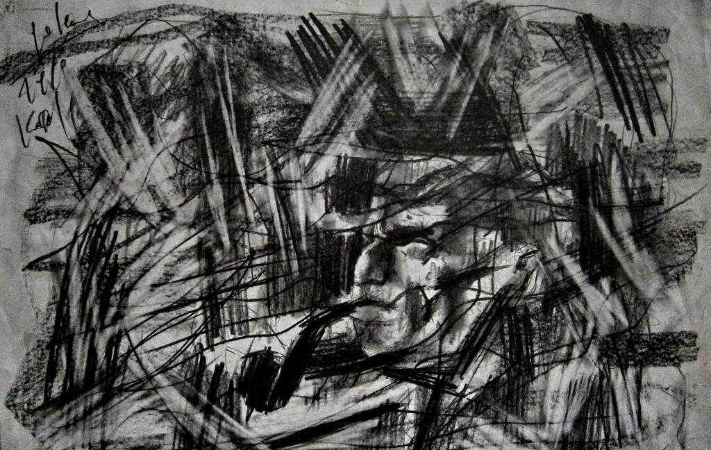 Besim Golemi - Burrë me llullë - grafikë 1992 (koleksioni privat i Sh. Sollakut)