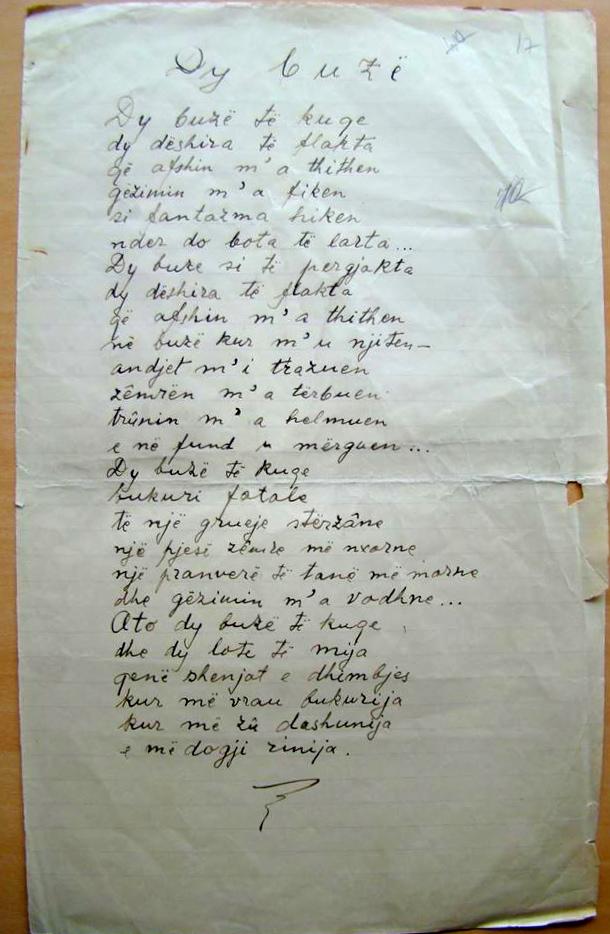 """Migjeni - Dorëshkrimi i poezisë """"Dy buzë"""""""
