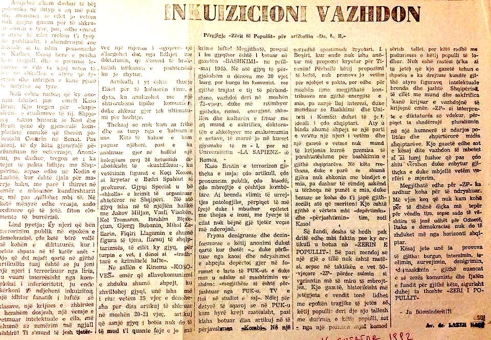 Inkuizicioni vazhdon - nga Dr. Lazër  Radi  (RD, 16.09.1992)