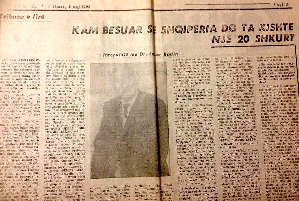 Lazer Radi - Intervista e pare - 2 maj 1992