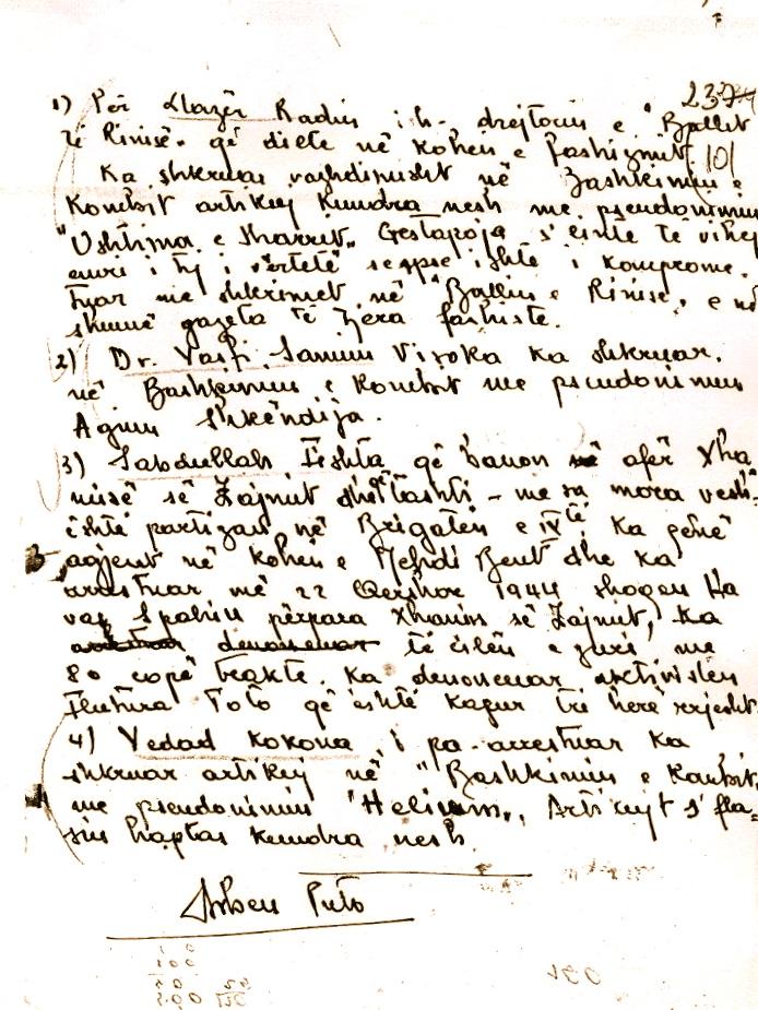 Dëshmi e Arben Putos e nxjerrë nga arkivi i shtetit