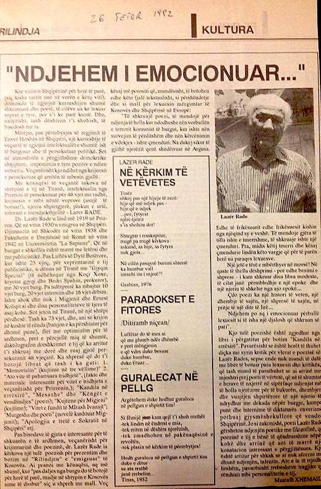 Lazer Radi Rilindja e Kosoves - 26 tetor 1992