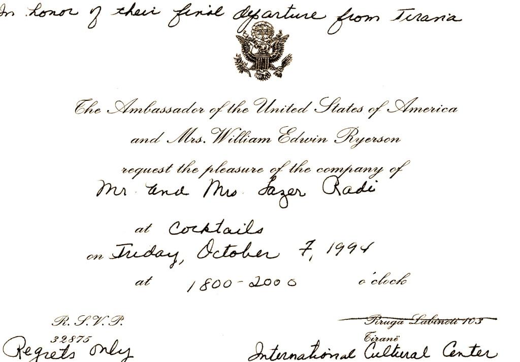 Ftesa e Ambasades Amerikane - Tirane 4 korrik 1994
