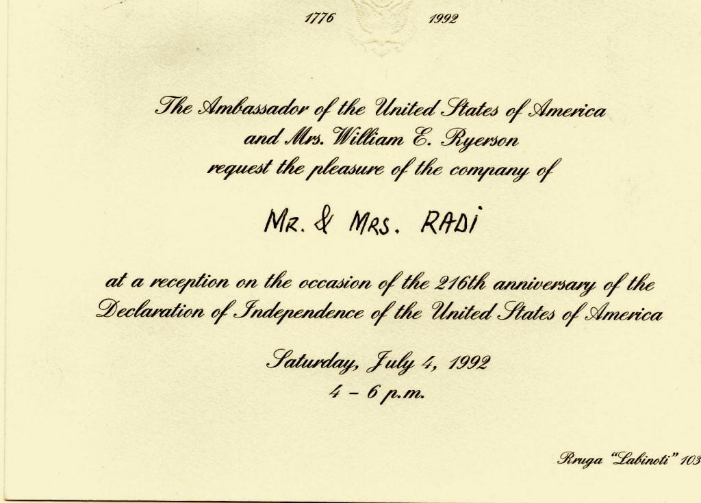 Ftesa e Lazër Radit nga Ambasada Amerikane në Tiranë 1992
