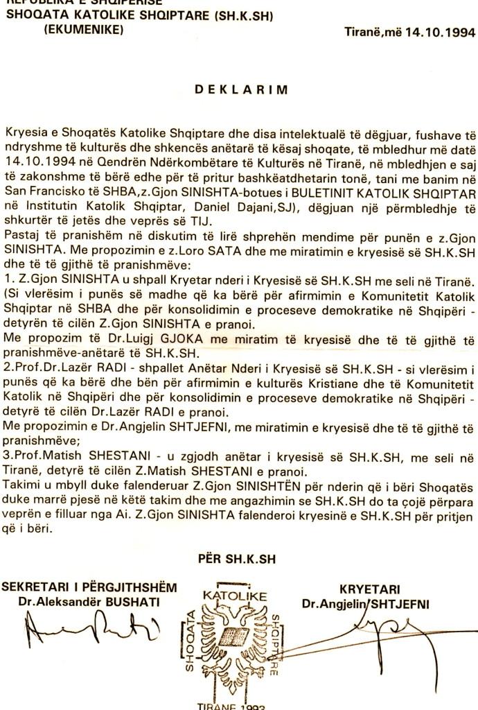 Lazer Radi - Anetar Nderi i Shoqates Katolike Shqiptare - Tirane 1993
