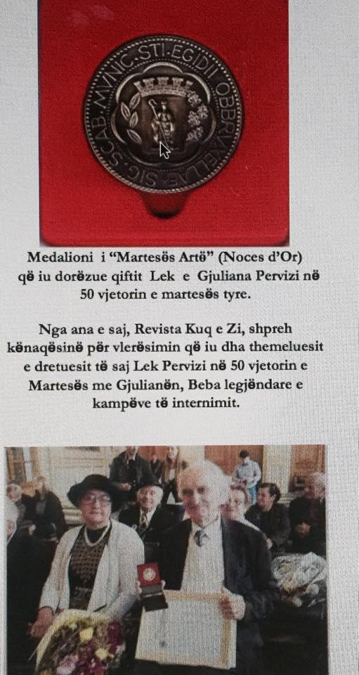 """Medalja """"Noces d'Or"""" per Lek dhe Gjuliana Pervizi"""