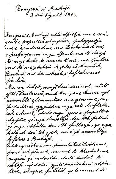 Dorëshkrim i Isuf Luzajt për Konferencën e Mukjes