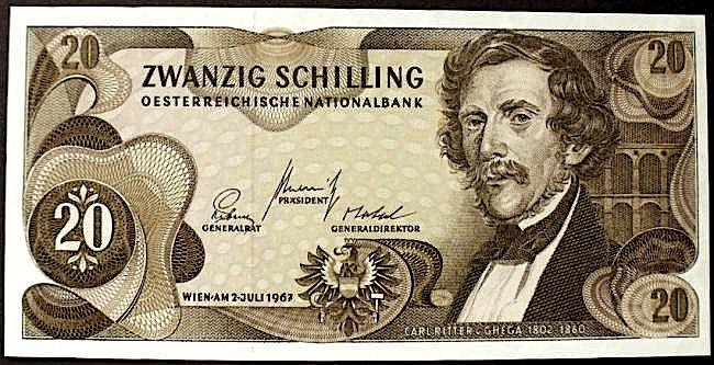 Karl Gega - monedha austriake 20 Shilinga