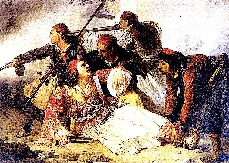 Luftëtarët  Suliotë tërheqin trupin e Heroit Marko Boçari nga kampi osman.