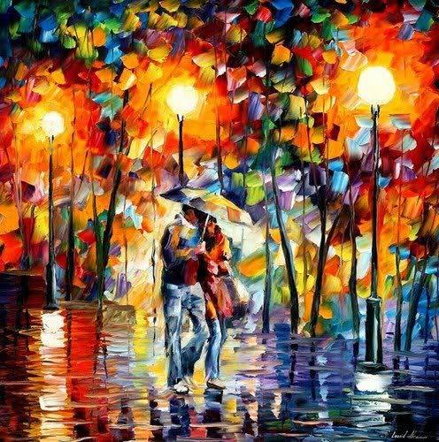 Bisedë nën drita dhe shi...