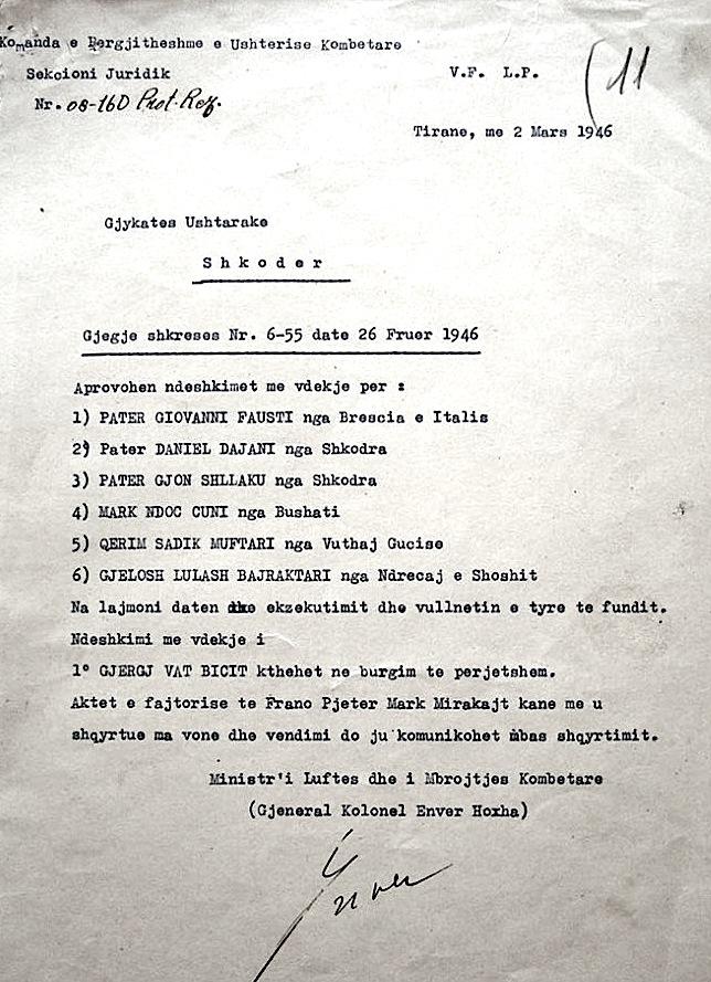 Vendimi i ekzekutimit nga Enver Hoxha
