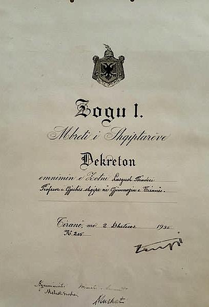 Dekretimi i Ahmet Zogut për emërimin e Lasgush Poradecit si profesor i gjuhes shqipe