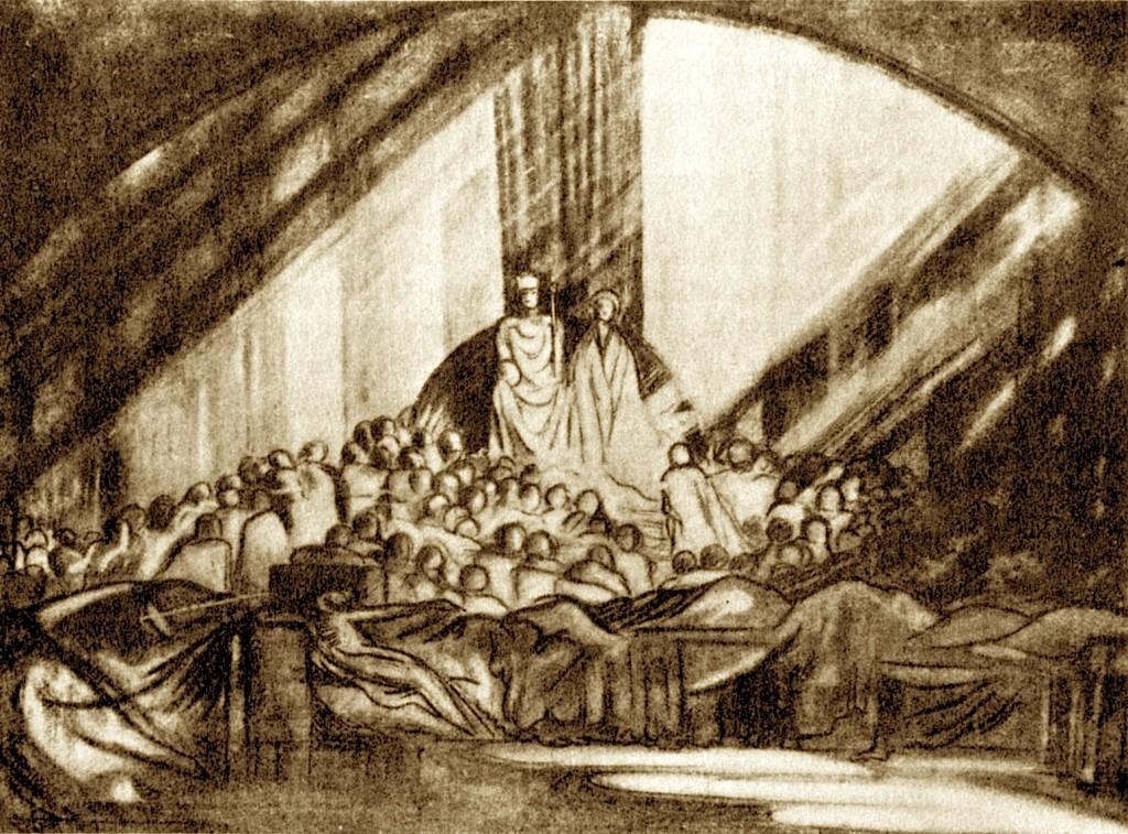 Craig's Design (1908) për tragjedinë Hamleti (Moscow Art Theatre)