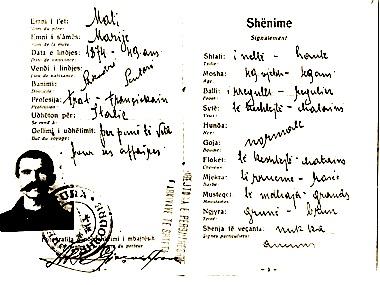 Pasaporta e Shtjefën Gjeçovit