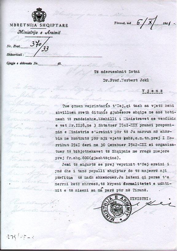 Dokumenti i Ministrit  Koliqi, per te shpetuar Albanologun Norbert Jokl