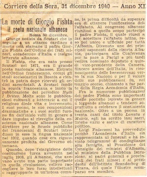 """""""Vdekja e Gjergj Fishtës -  poeti kombtar shqiptar"""" Corriere della Sera"""