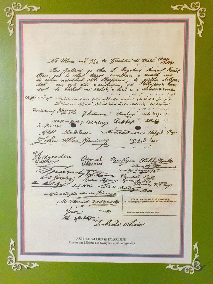 Dokumenti i Firmatarëve i ruajtur nga Lef Nosi