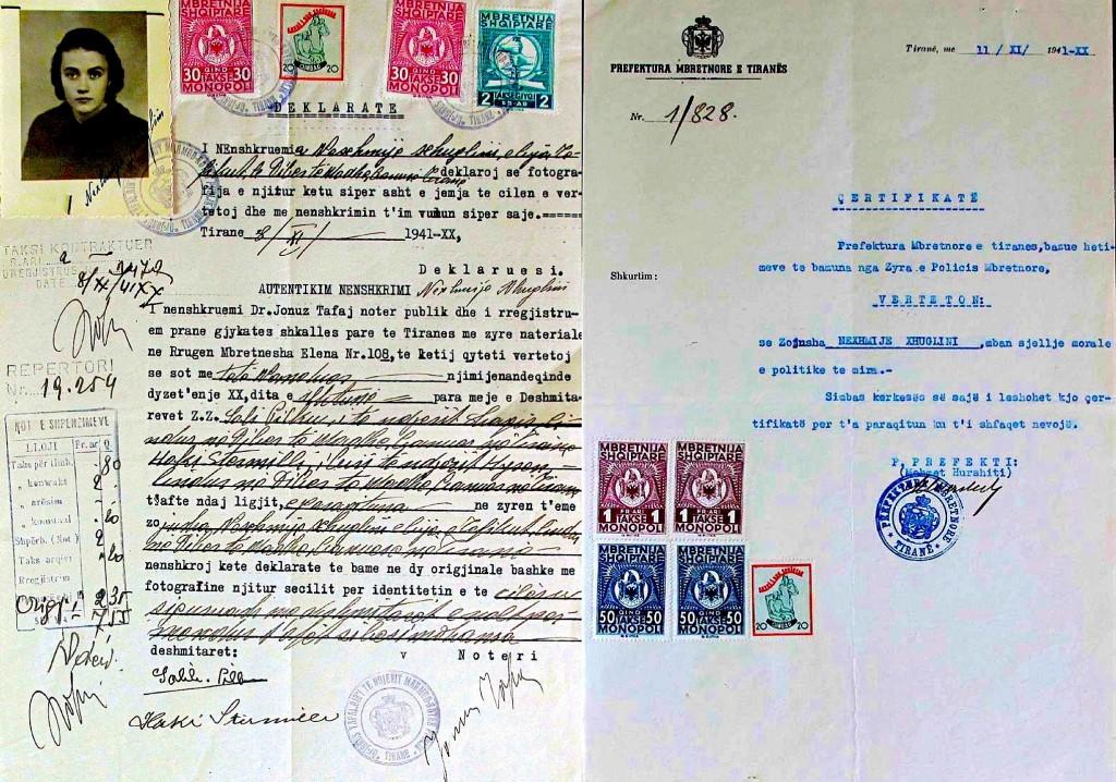 Dokumente të pjesmarrjes së Nexhmije Xhuglinit në Partinë Fashiste