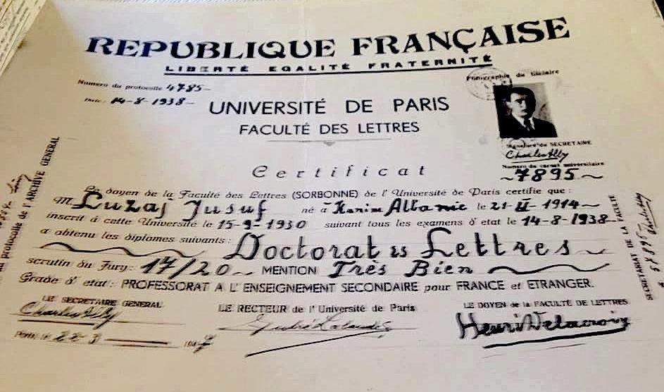 Jusuf Luzaj - Dipllomimi në Paris