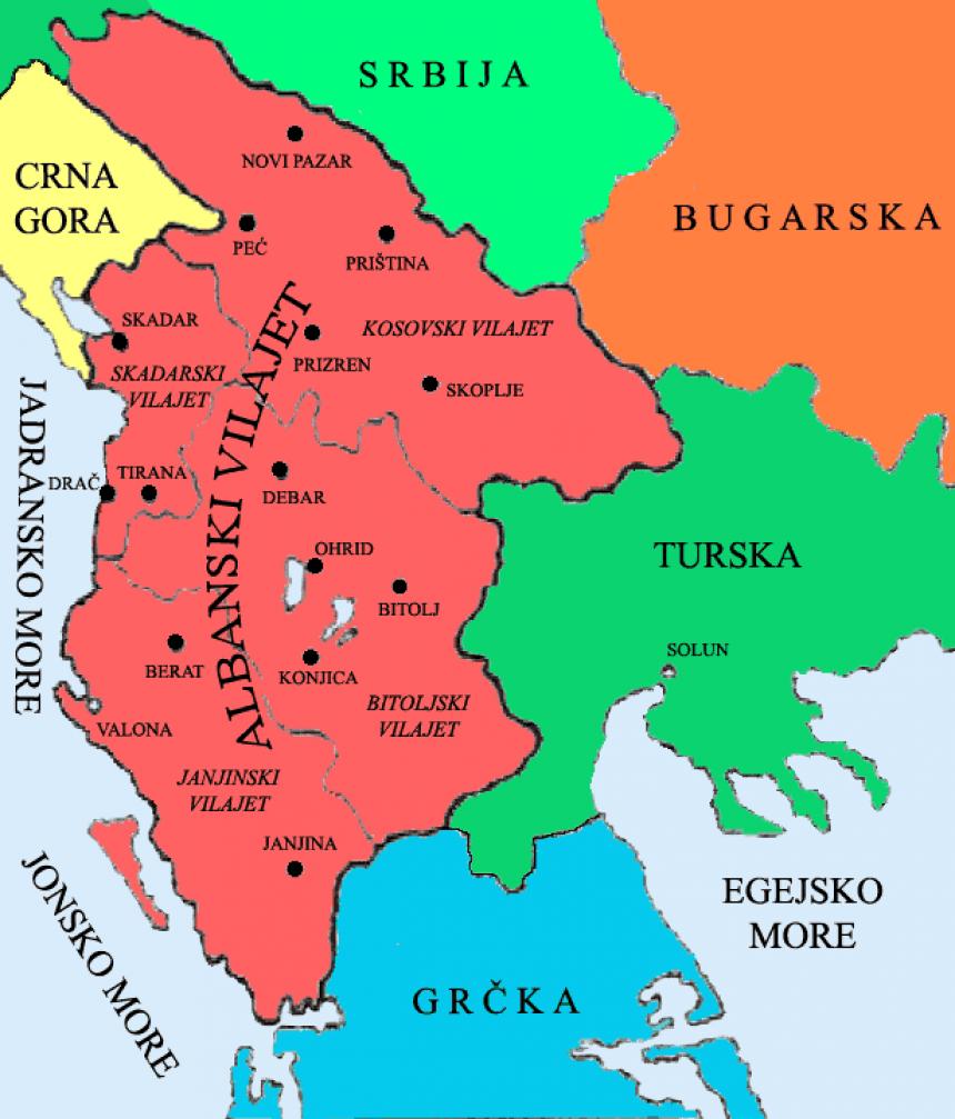 Harta e trojeve shqiptare nën Perandorin Osmane 1880