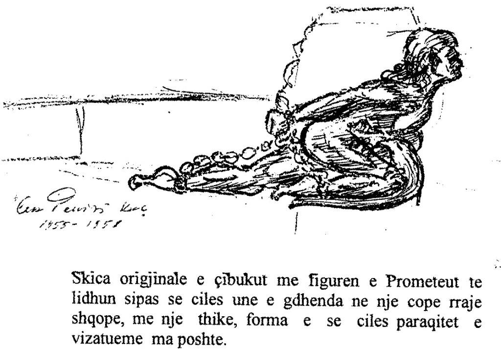 Figura e Prometheut në një llulle të punuar nga Lek Pervizi