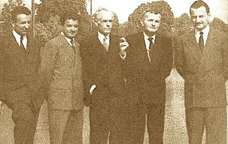 """Anëtarët e Komitetit """"Shqipëria e Lirë"""" Nga e majta Nuçi Kota, Zef Pali, Mid'hat Frashëri, Abaz Kupi e Said Kryeziu"""