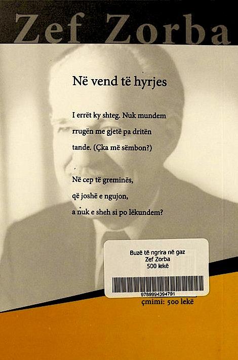 Zef Zorba - Buzë të ngrira në gaz - Poezi