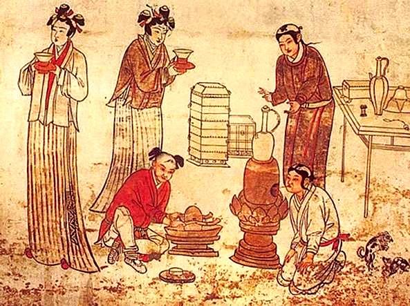 Përgatitja e çajit - Stampë e Lashtë Kineze