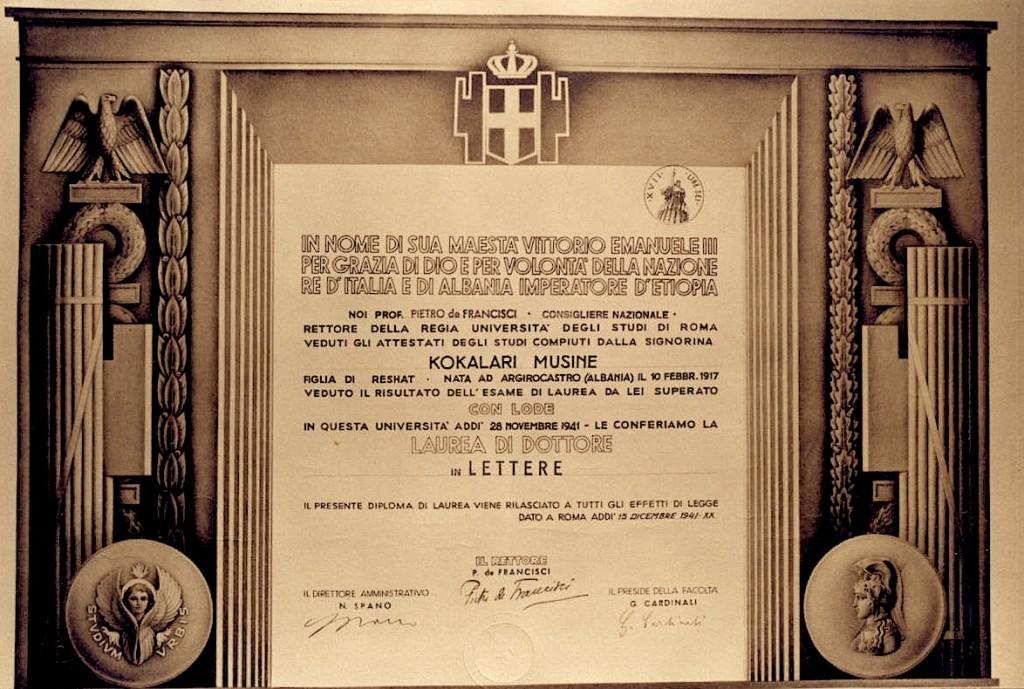 """Dëshmia e Doktoraturës nga Universiteti """"La Sapienza"""""""