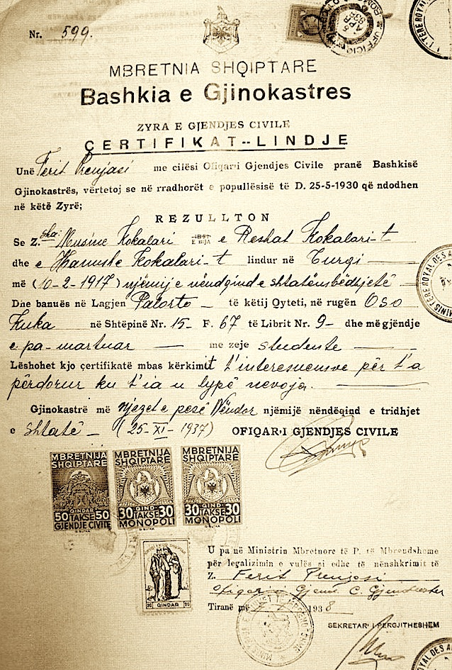Çertifikata e lindjes e Musine Kokalarit