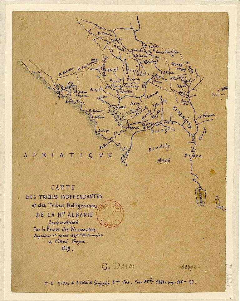Albanie haute carte - Harta e Fiseve Shqiptare