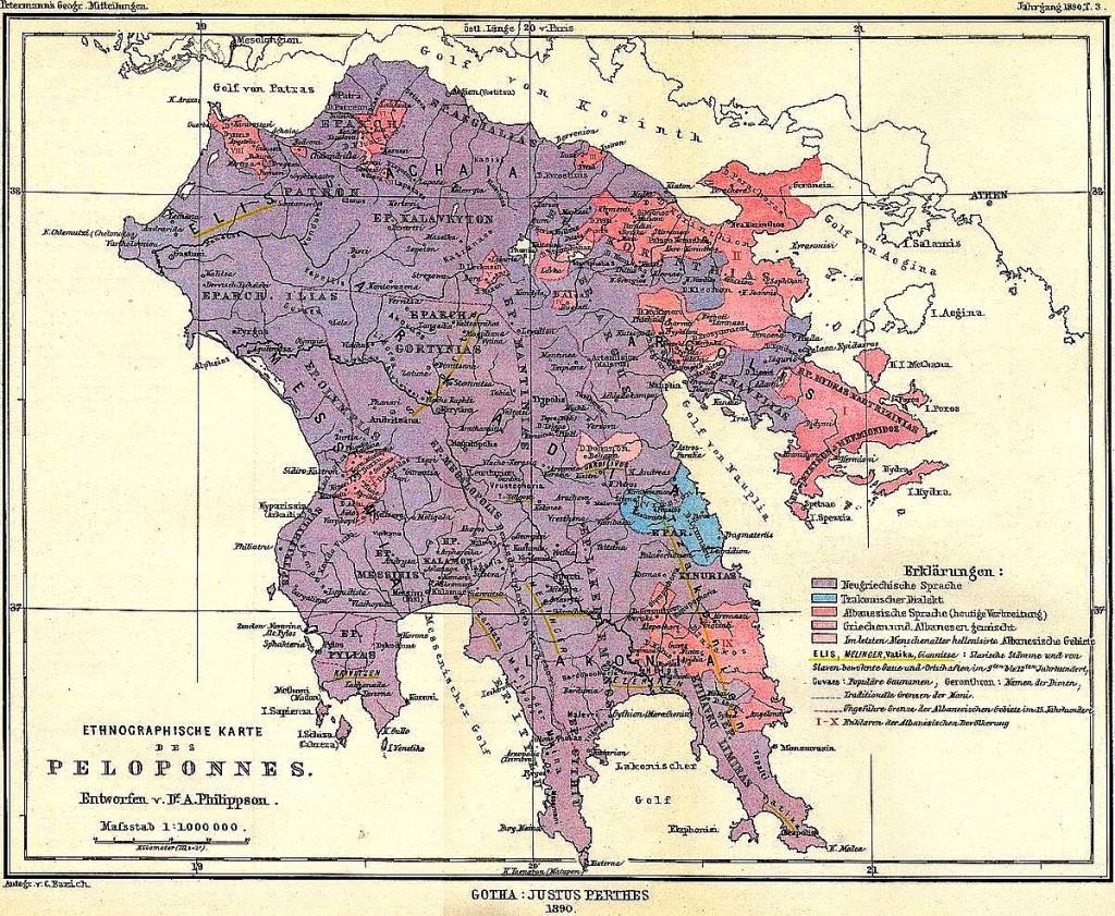 Pelopones ethnic maps - Me roze vendbanimet arvanitase
