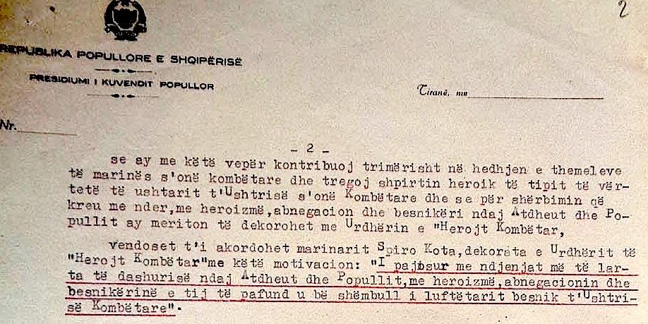 "Dekreti per Spiro Kota ""Herojt Kombëtar"""