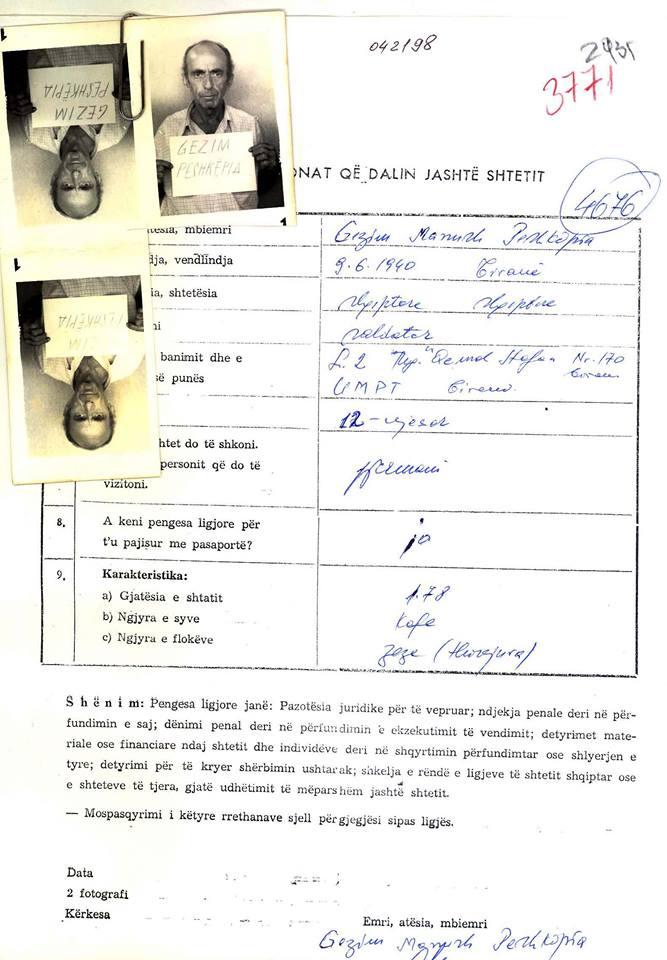 Fleta e aplikimit për pasaportë e z. Gëzim Peshkëpia