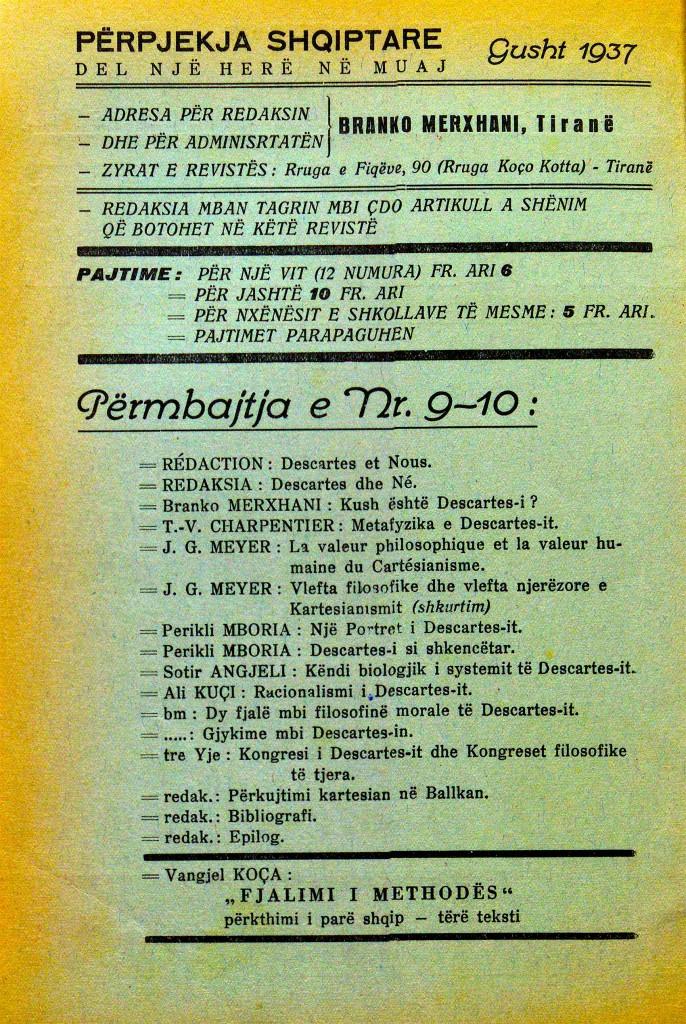 Perpjekja Shqiptare - Gusht 1937